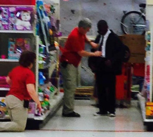 Yasir Moore being helped at Target